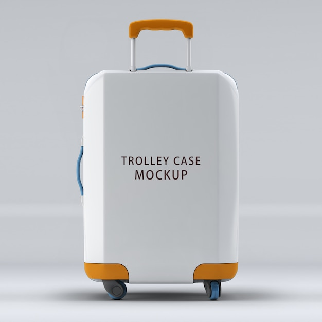 The reverse side universal wheel trolley case mockup isolated Premium Psd