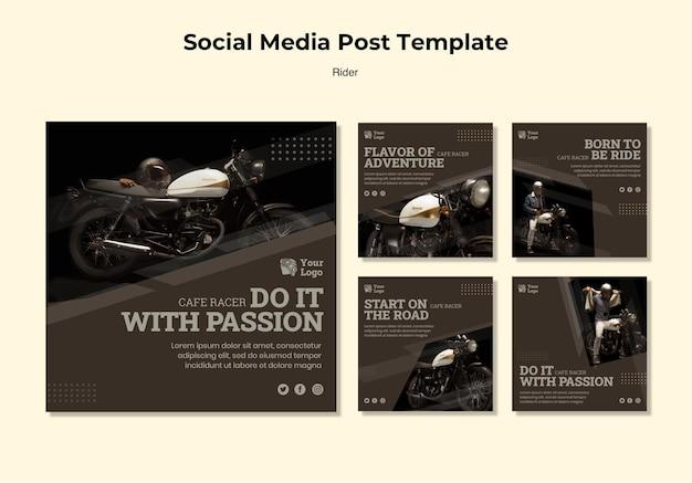 ライダーコンセプトソーシャルメディア投稿テンプレート Premium Psd