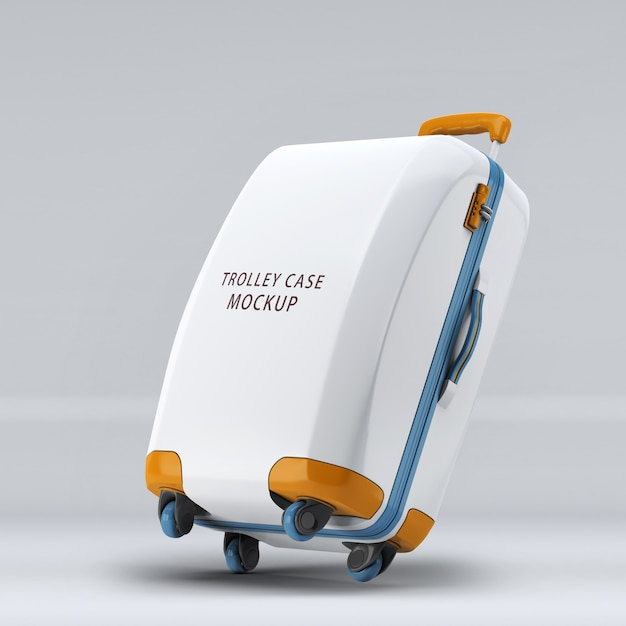 Rightward inclined universal wheel trolley case or luggage upright mockup isolated Premium Psd