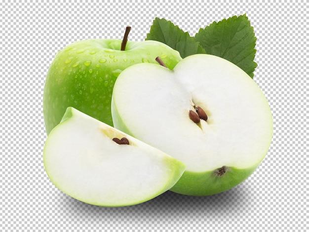 Спелое целое зеленое яблоко с половиной и листьев. Premium Psd