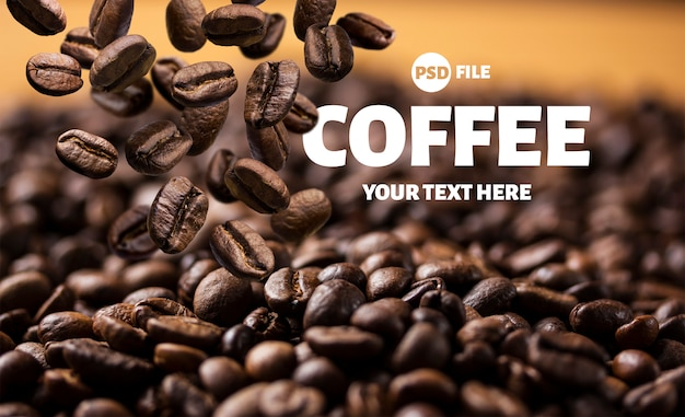 Roasted falling or flying coffee beans banner Premium Psd