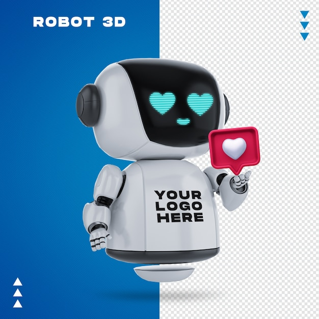 Robot 3d mockup in 3d rendering isolated Premium Psd