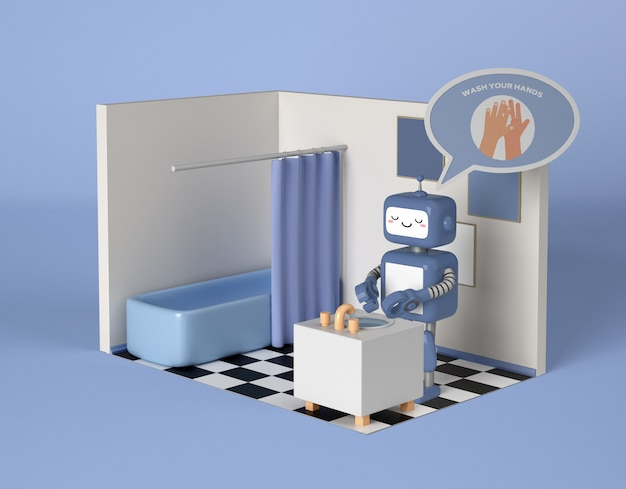 Robot cleaning its hands in the bathroom Free Psd
