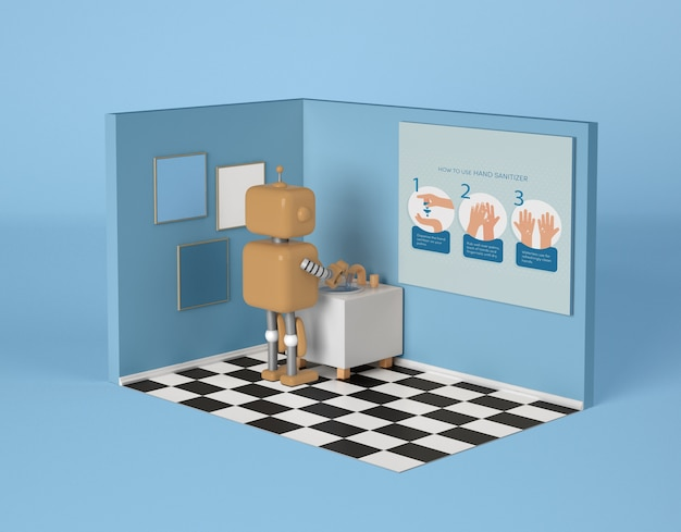 Robot washing hands in the bathroom Free Psd