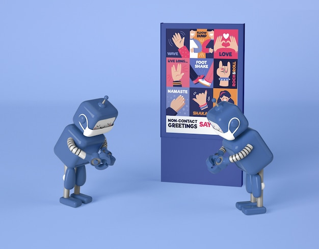 Robots demonstrating non-contact greetings Free Psd
