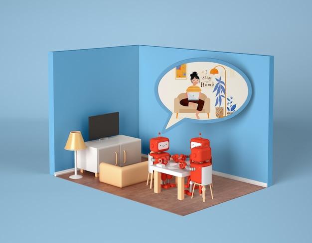 Robots socializing at home Free Psd