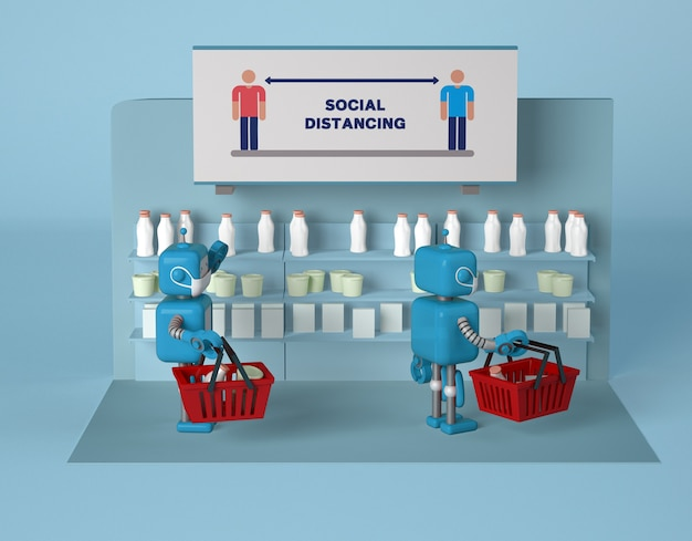 Robots with masks keeping social distance while at store Free Psd