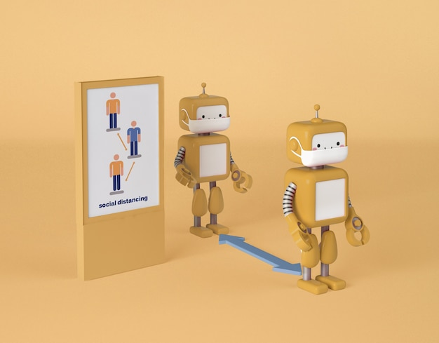 Robots with medical masks keeping social distance Free Psd