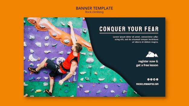 Modello di banner di arrampicata su roccia Psd Gratuite