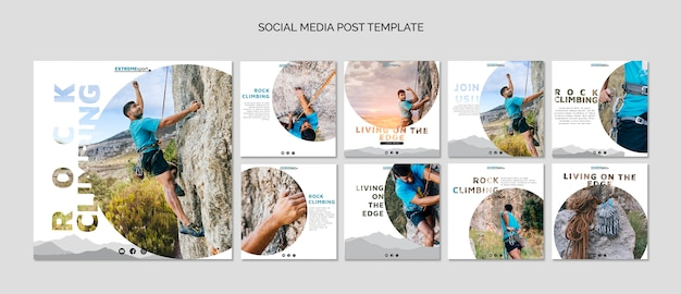 Rock climbing social media post Free Psd
