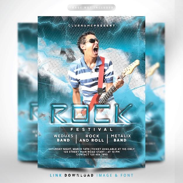 Rock lightning blue flyer fest premium Premium Psd