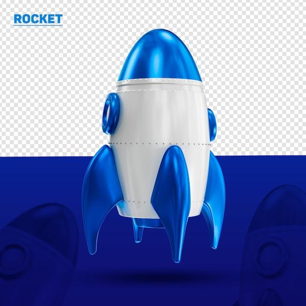 Ракета синий 3d фронт для композиции Premium Psd
