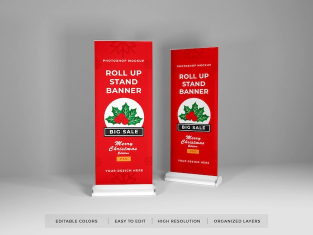 Roll up banner mockup design isolated Premium Psd