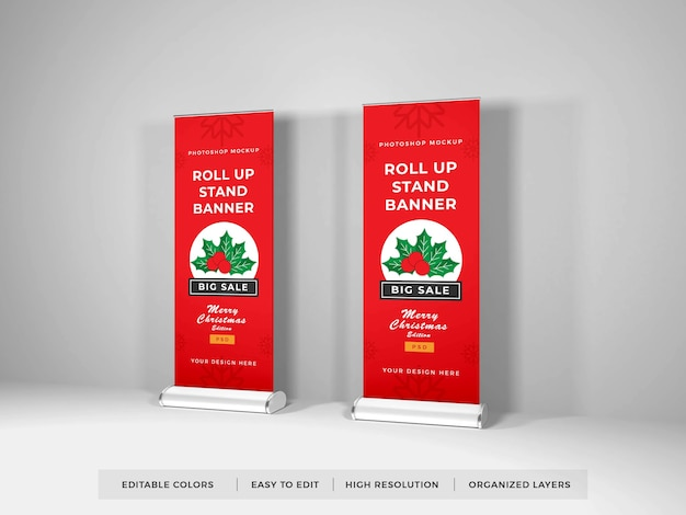Roll up banner mockup isolated Premium Psd