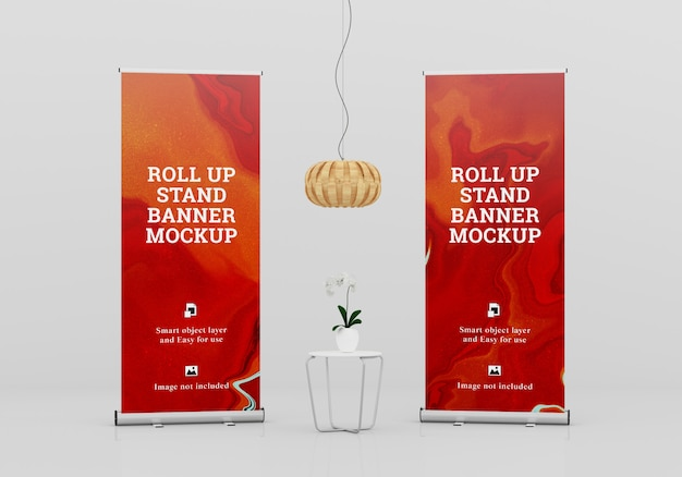 Roll up banner stand mockup Premium Psd