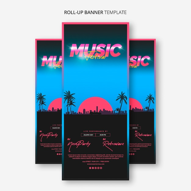 Roll up banner template for 80s music festival Free Psd