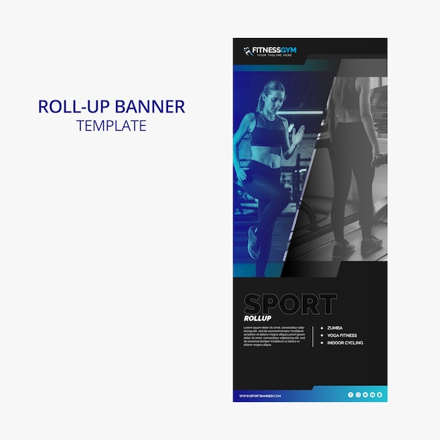 Roll up banner template with fitness concept Free Psd