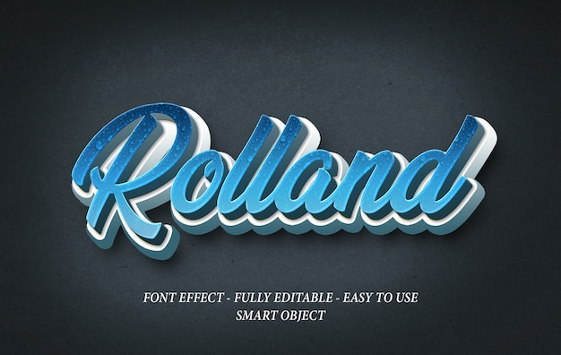 Rolland text realistic 3d effect template