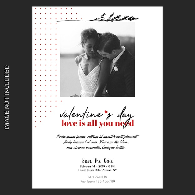 Romantic, creative, modern and basic valentine's day invitation, greeting card and photo mockup Premium Psd