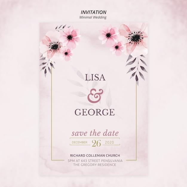 Романтическое минимальное свадебное приглашение Бесплатные Psd