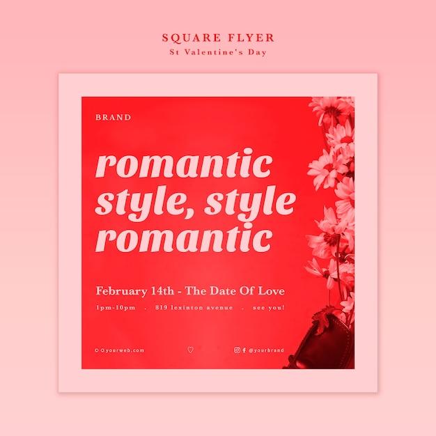 San valentino in stile romantico con volantino di fiori Psd Gratuite