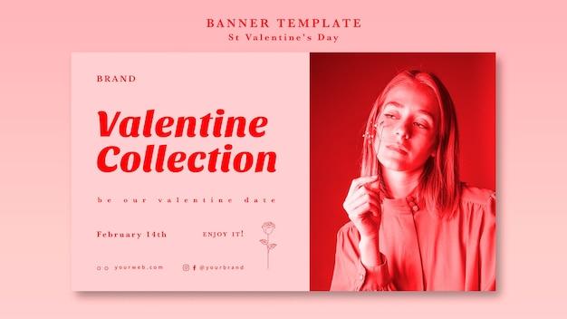 San valentino romantico con banner ragazza Psd Gratuite