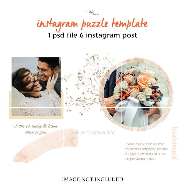 Romantic wedding instagram collage template Premium Psd