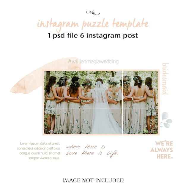 Romantic wedding instagram collage template Premium Psd