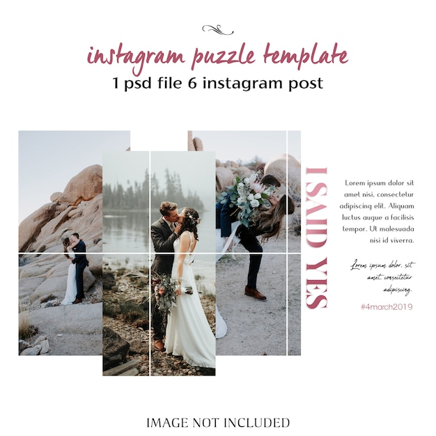 Romantic Wedding Instagram Collage Template PSD File