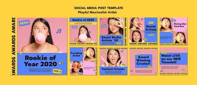 올해의 신인 소셜 미디어 게시물 템플릿 무료 PSD 파일