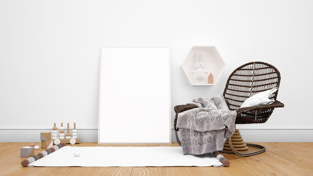 Room decorated with modern furniture, photo frame, carpet, and decorative objects Free Psd