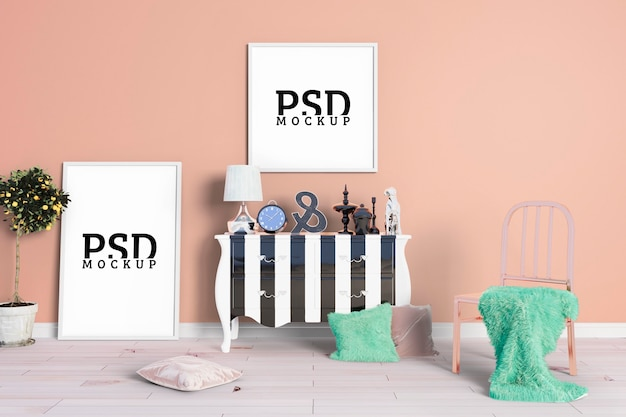 The room has orange-pink walls and frames Premium Psd