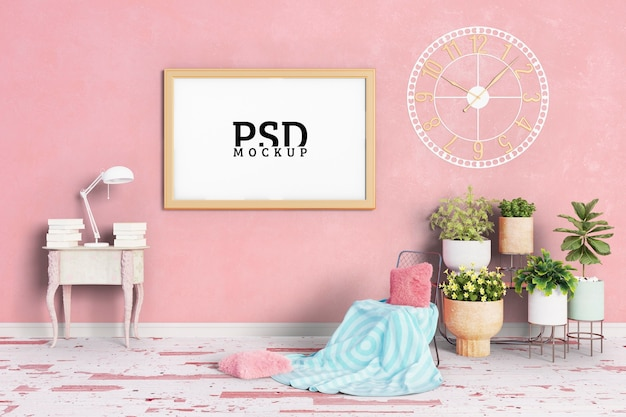 The room has pink key tones and frames Premium Psd