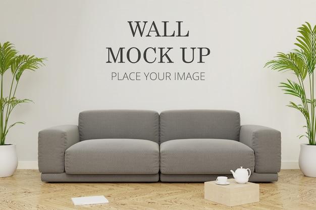 Макет стены комнаты с модульным диваном Premium Psd