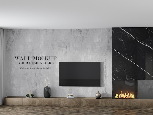Room wallpaper mockup behind tv Premium Psd