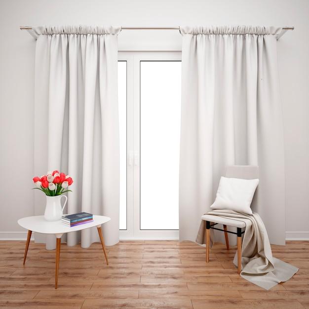 Комната с минималистской мебелью и большим окном с белыми шторами Бесплатные Psd