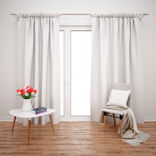 Room with minimalist furniture and large window with white curtains Free Psd