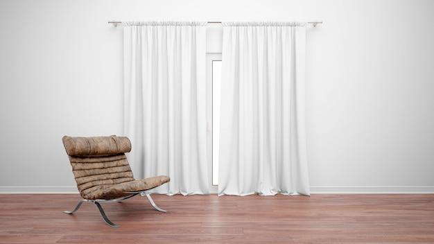 Комната с винтажным диваном рядом с окном с белыми занавесками Бесплатные Psd