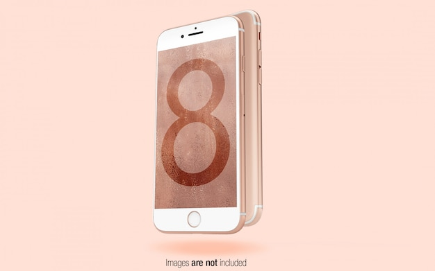 Rose gold iphone front and back view psd mockup Premium Psd