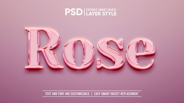 Rose gold luxury smart object layer effect Premium Psd