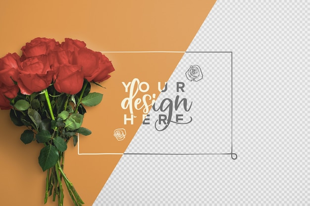 Roses bouquet background mockup Premium Psd
