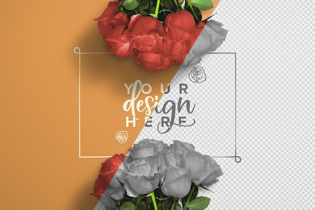 Roses bouquet background mockup Free Psd