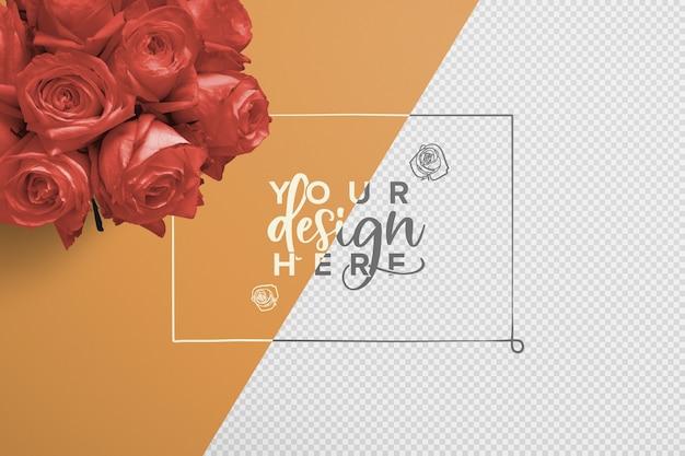 バラの花束の背景のモックアップ Premium Psd