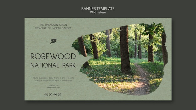 Rosewood national park banner template with nature and trees Free Psd