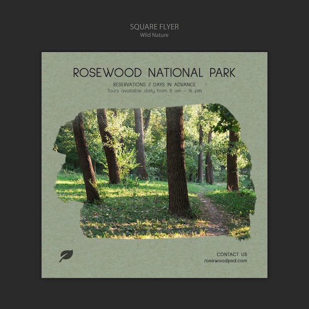 Rosewood national park flyer template with trees Free Psd