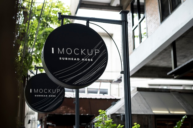 Round Black Signboard Design Mockup