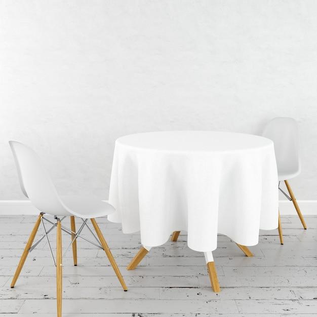 Mockup di tavolo da pranzo rotondo con un panno bianco e sedie moderne Psd Gratuite