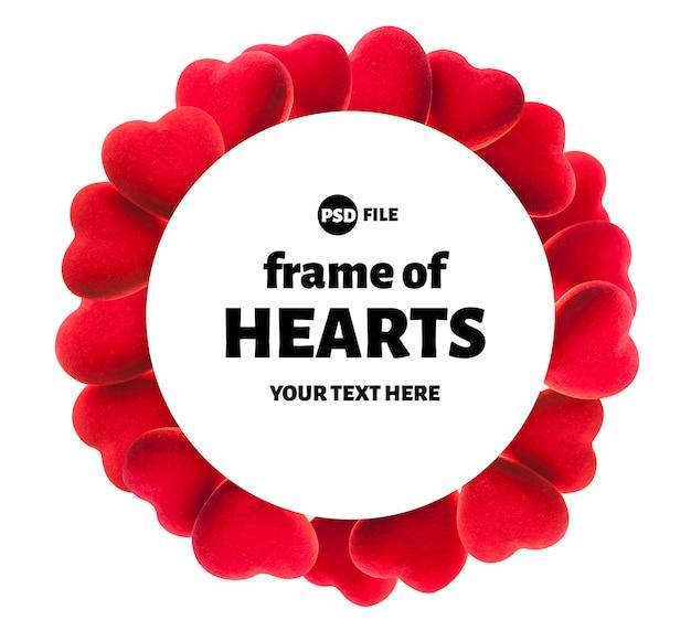 Round hearts frame, valentine's day or wedding background Premium Psd