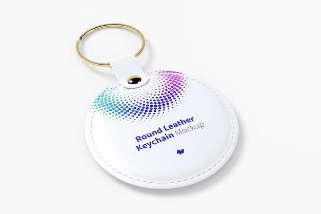 Round leather keychain mockup Premium Psd
