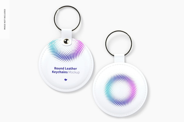Round leather keychains set mockup Premium Psd